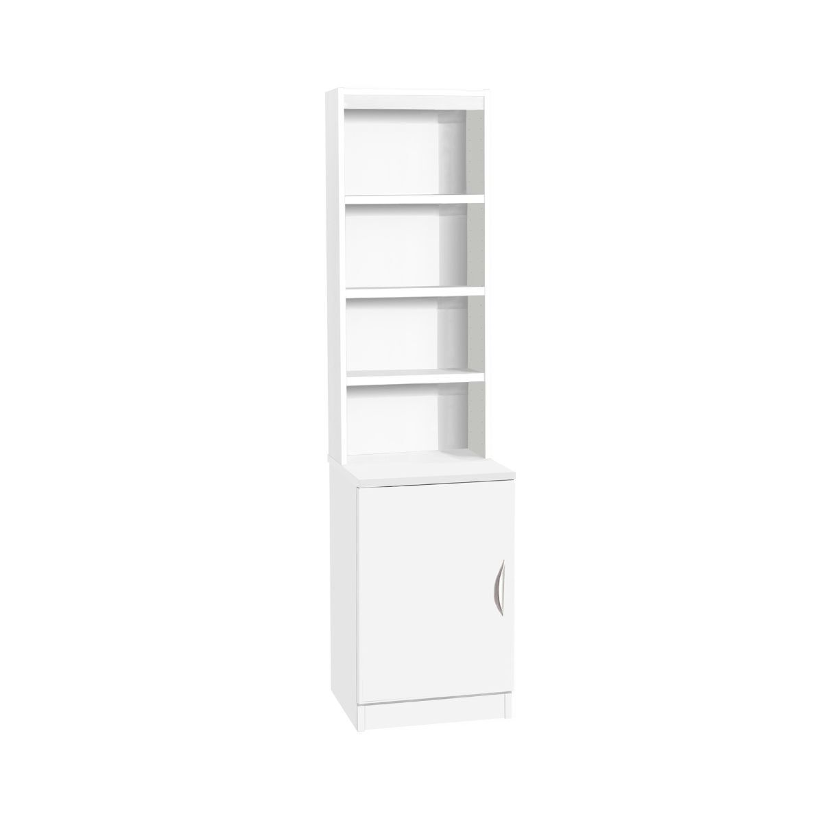 R White Desk Height Wide Cupboard 48cm with Overshelving White Satin