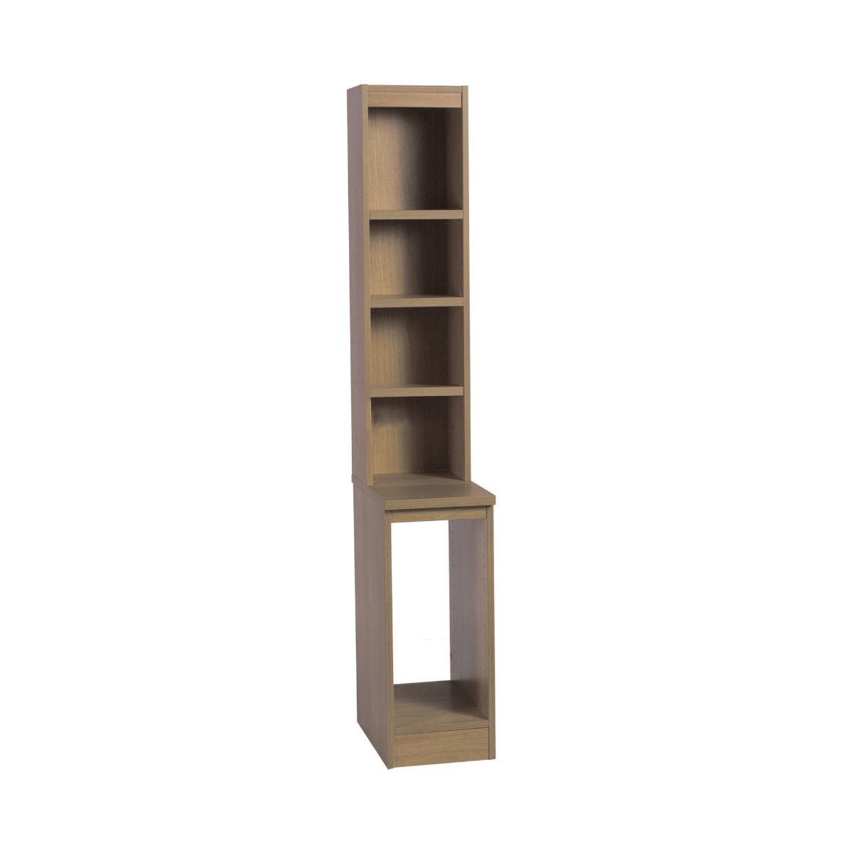 R White Computer Tower Storage with Overshelving English Oak