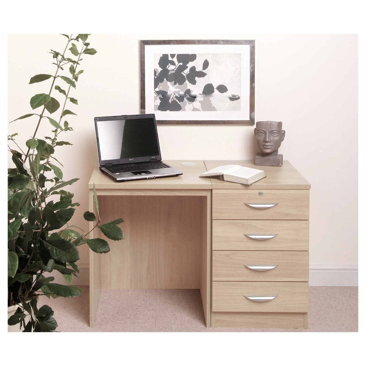 R White Home Office Desk Set with Four Drawers Beech
