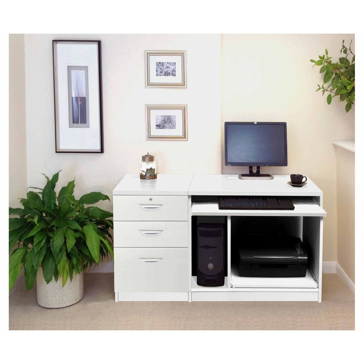 R White Home Office Computer Desk With Three Drawers White