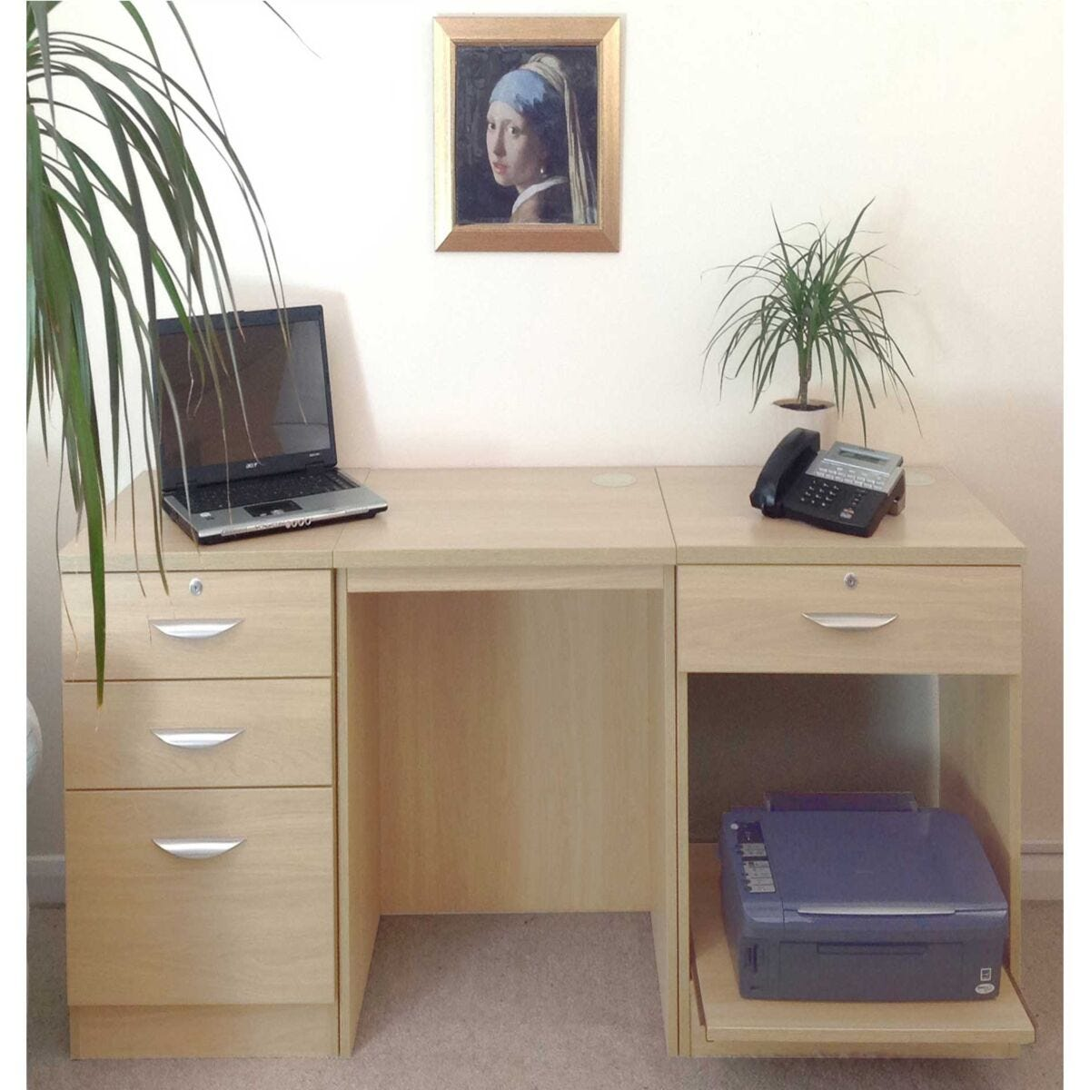 R White Home Office Furniture Desk Set With Drawers And Storage