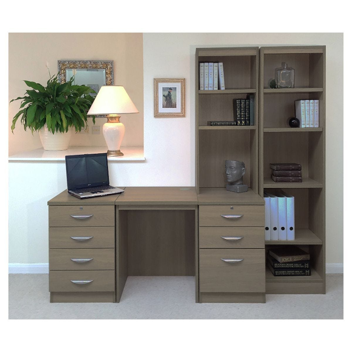 R White Home Office Desk with Side Shelving English Oak
