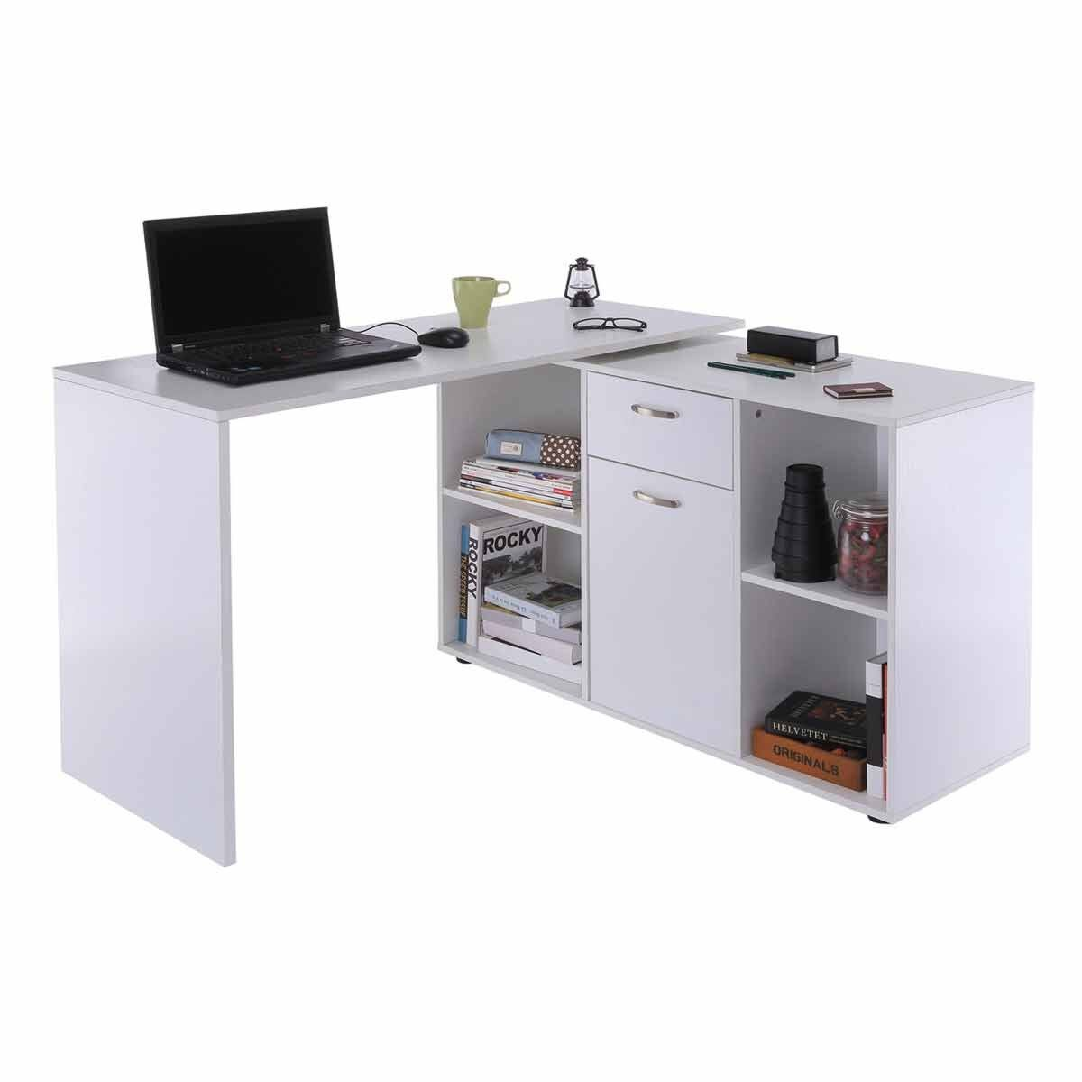 Hermione Dual-use L-Shaped Computer Desk White
