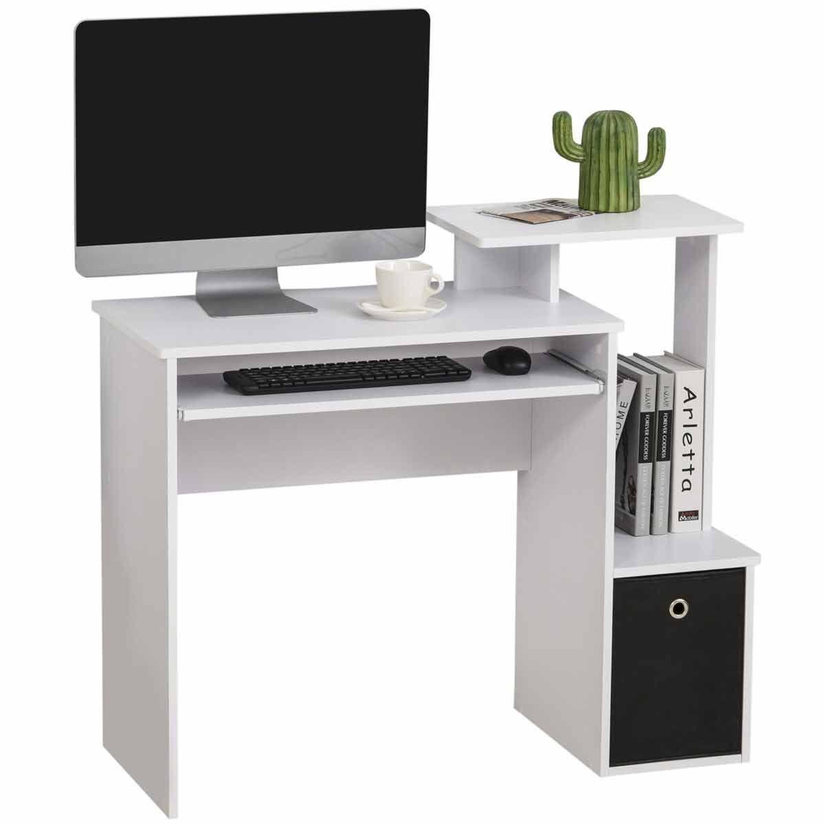 Aeric Computer Desk with Storage White