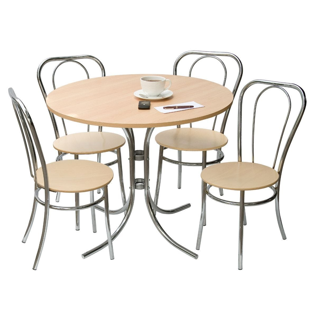 Teknik Office Bistro Set Deluxe Light Wood Table and 4 Chairs