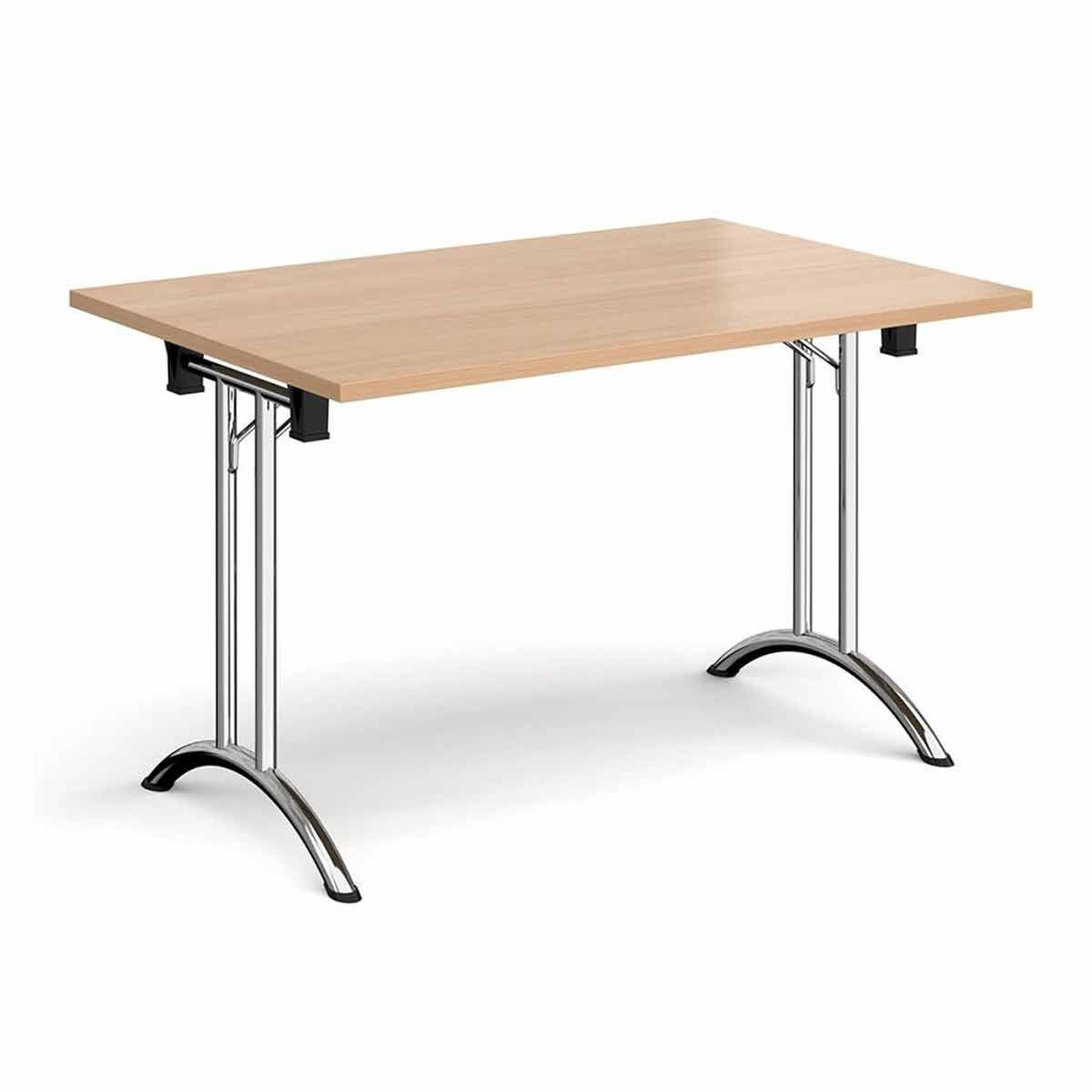 Tabilo Folding Table with Curved Chrome Frame 1400 x 800mm Beech