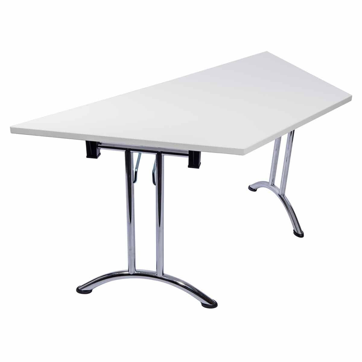 Tabilo Trapezium Folding Table Frame with Curved Chrome Frame 1600 x 800mm White