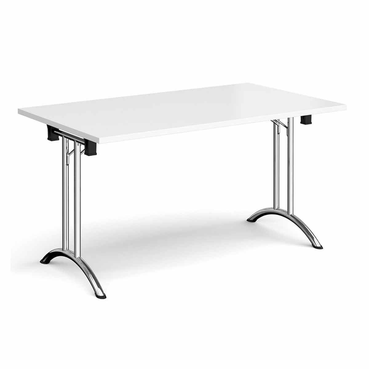 Tabilo Folding Table with Curved Chrome Frame 1800 x 800mm White