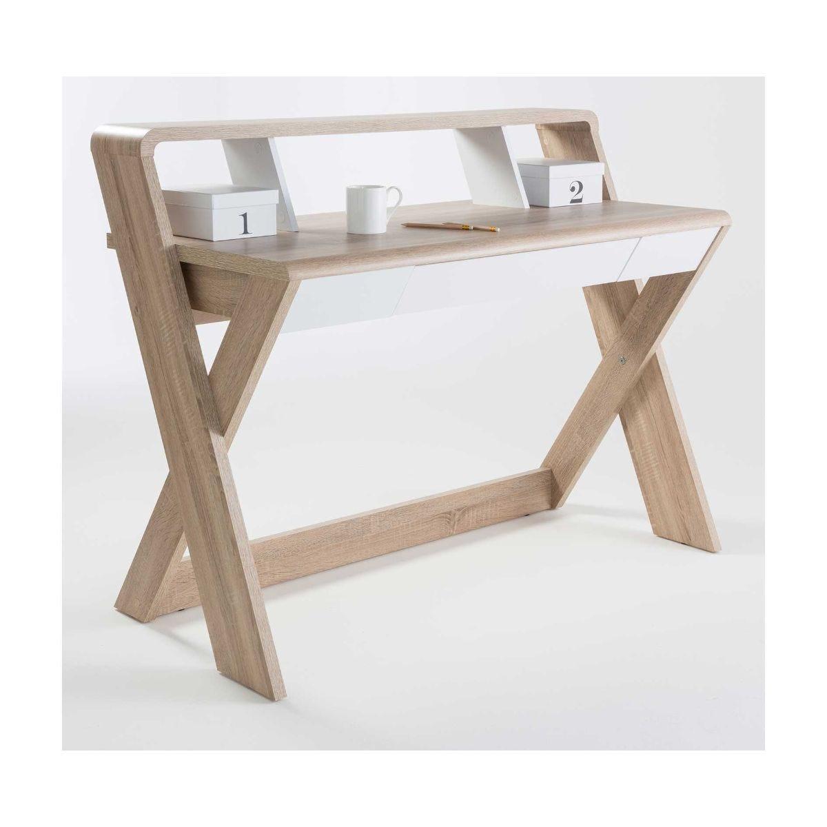 Alphason Aspen Light Oak Effect Trestle Desk