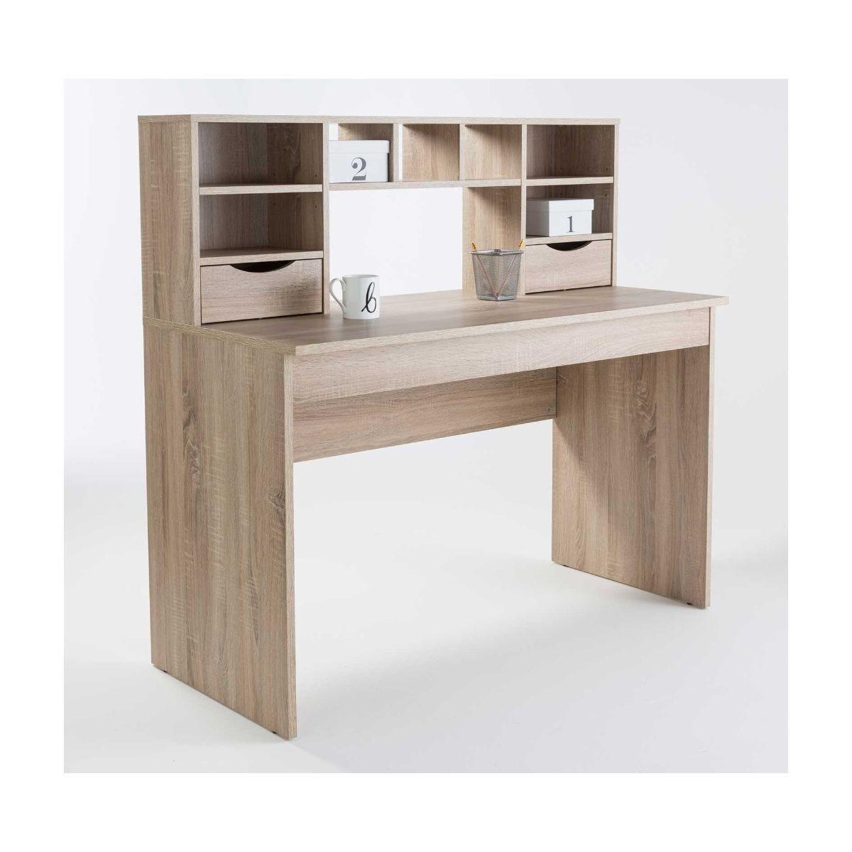 Alphason Albion Light Oak Effect Office Desk with Hutch Shelving