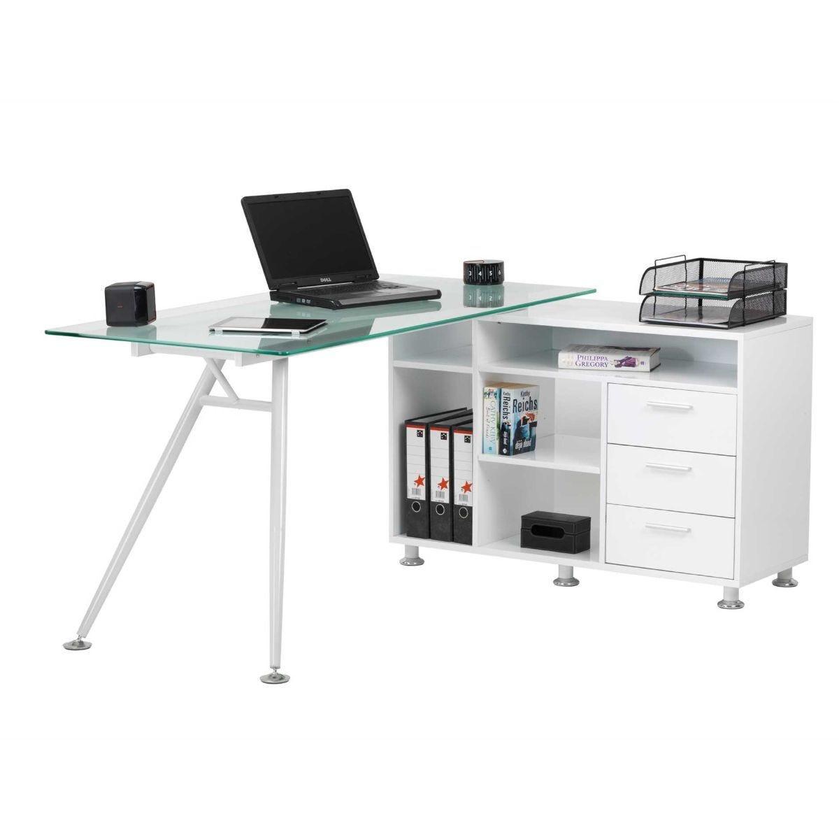 Alphason Augusta Glass Corner Desk with Storage