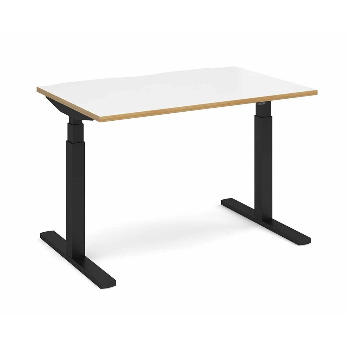 Elev8 Touch Straight Sit-Stand Desk 1200mm x 800m Black Frame White Light Oak