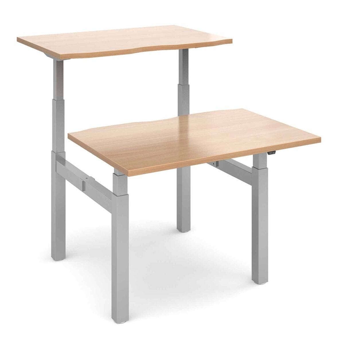 Elev8 Touch Sit-Stand Back-To-Back Desks 1200mm x 1650mm Silver Frame