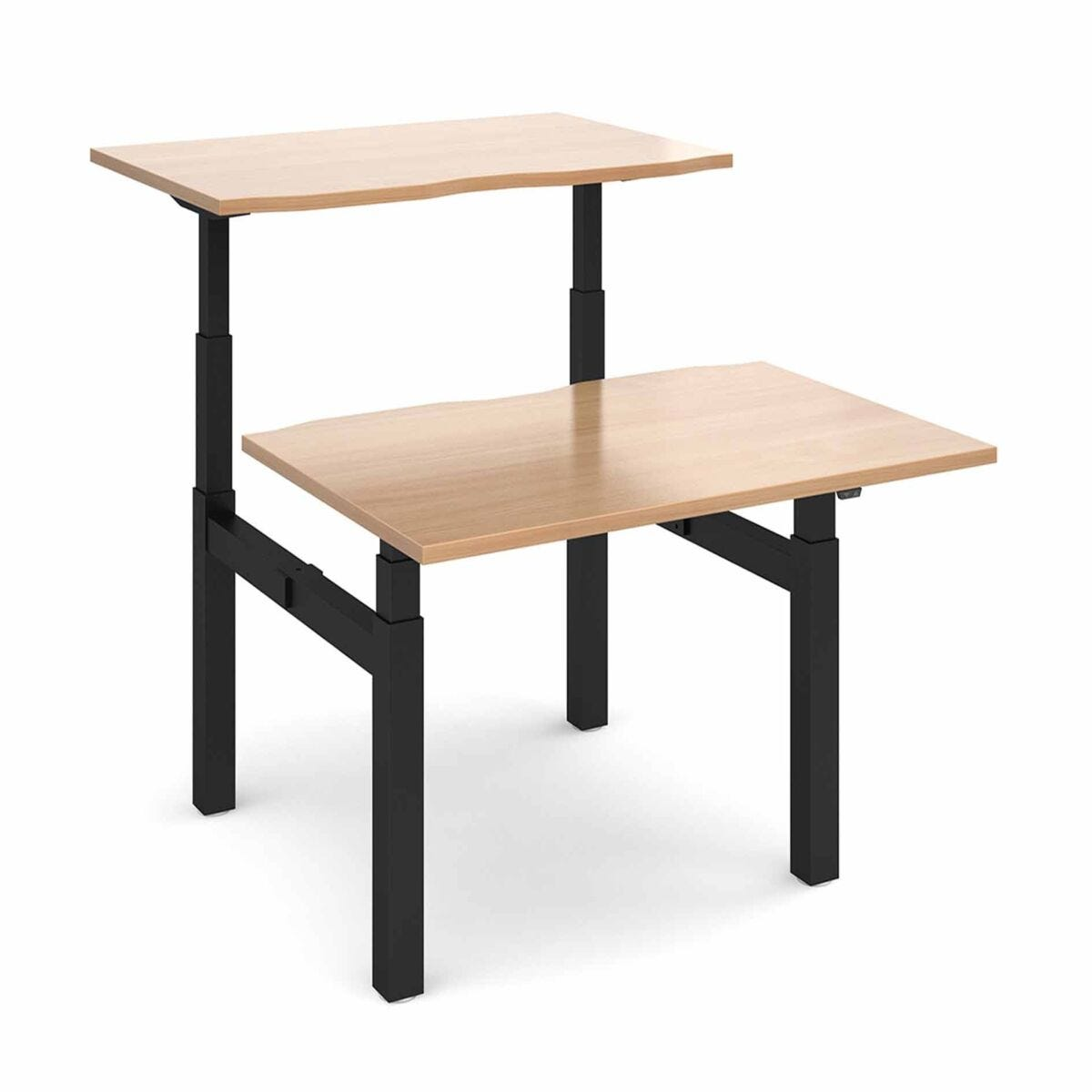 Elev8 Touch Sit-Stand Back-To-Back Desks 1200mm x 1650mm Black Frame