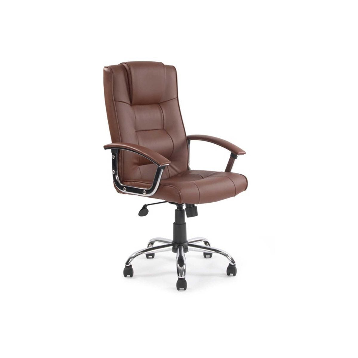 High Back Leather Faced Executive Chair with Chrome Base