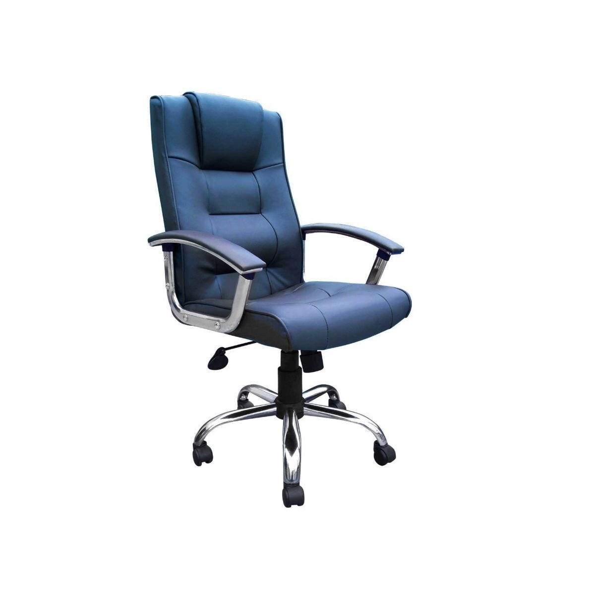 High Back Leather Faced Executive Chair with Chrome Base Blue