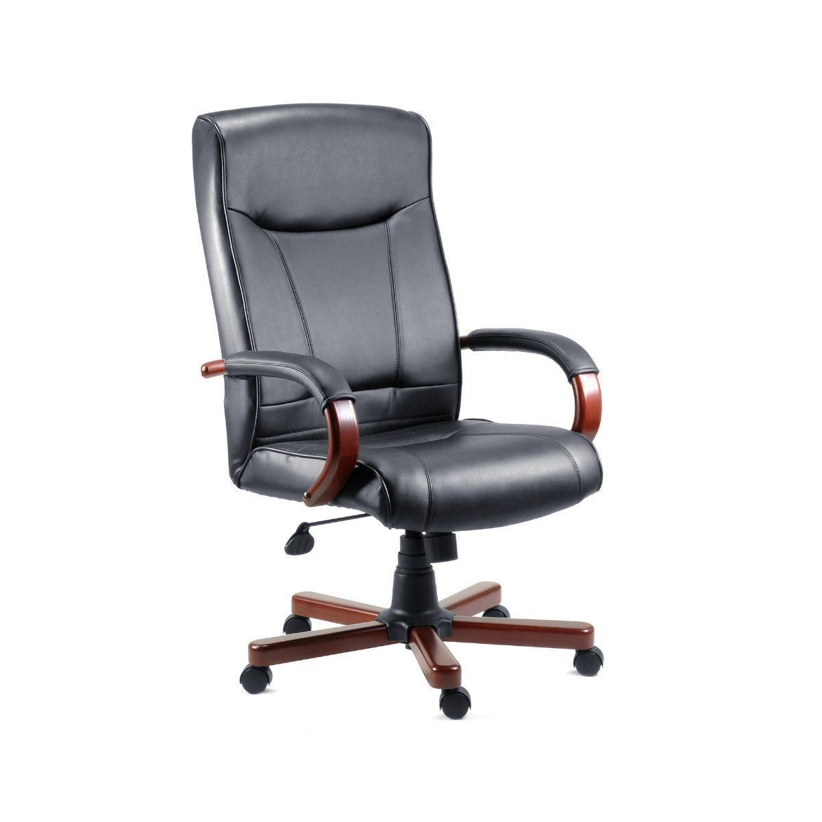 Teknik Office Kingston Executive Black Leather Faced Chair Mahogany