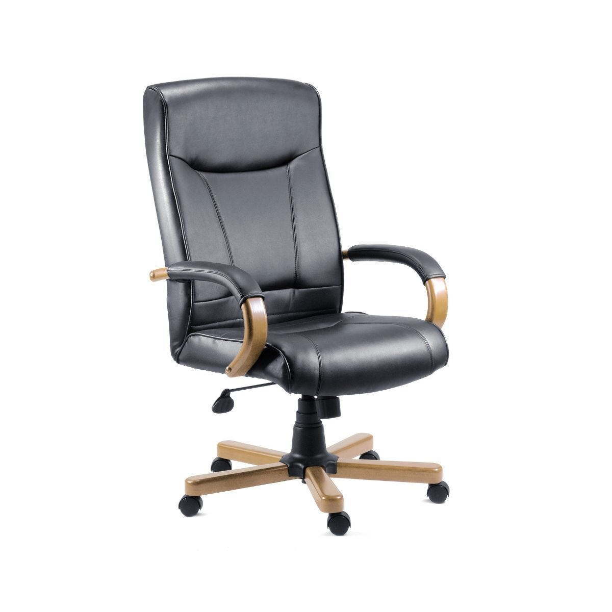 Teknik Office Kingston Executive Black Leather Faced Chair Oak