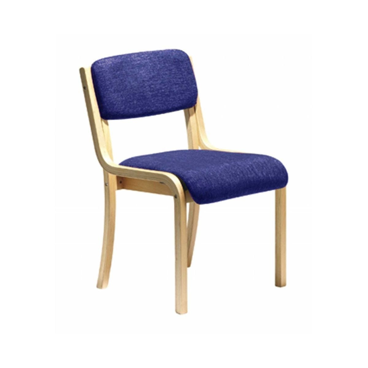 Wood Framed Conference Chair without Arms Blue Upholstered