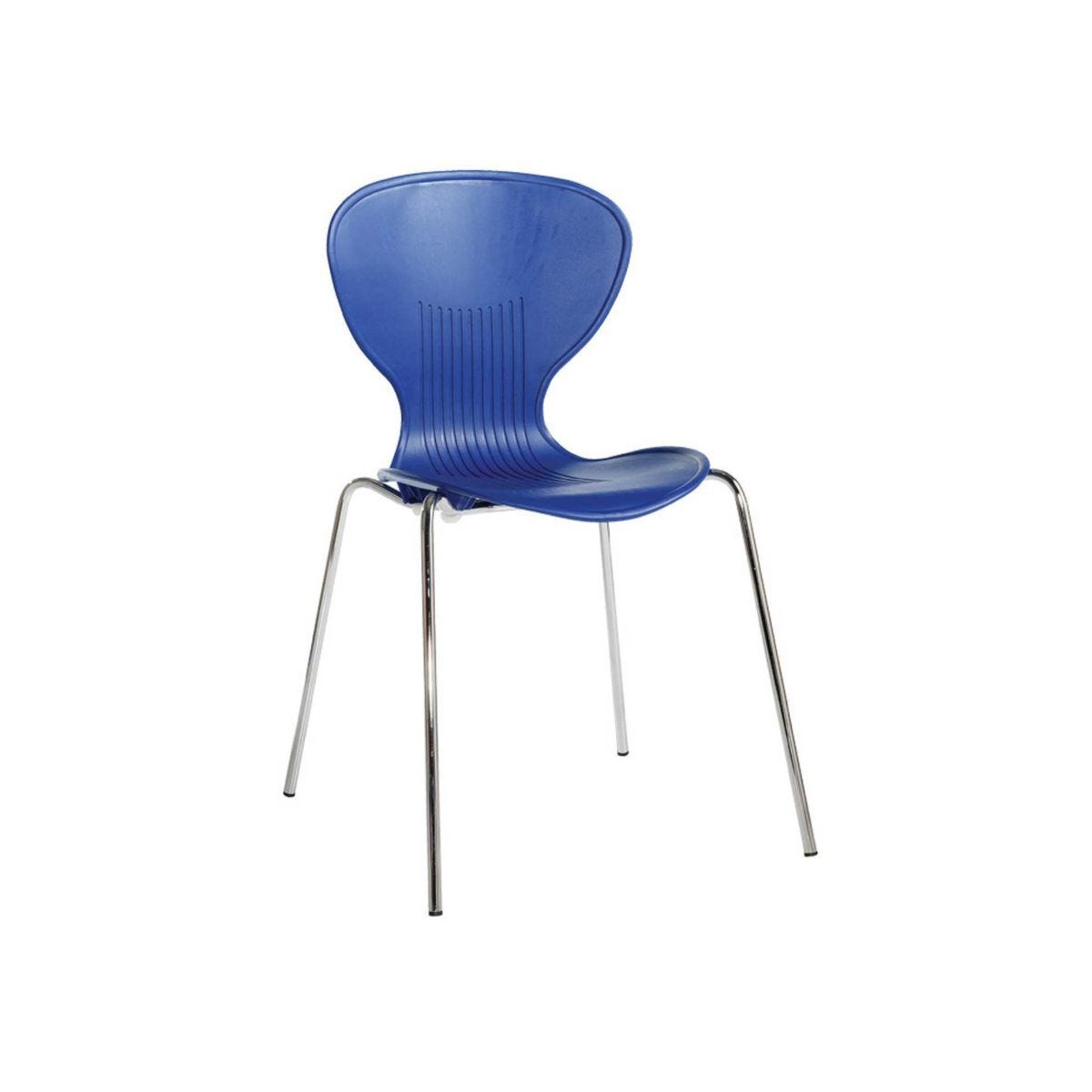 Contemporary Plastic Bistro Chair Pack of 4 Contoured Blue