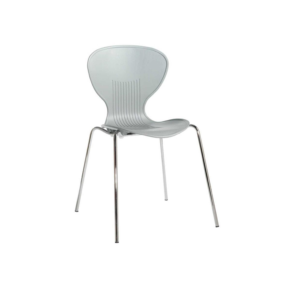 Contemporary Plastic Bistro Chair Pack of 4 Contoured Grey