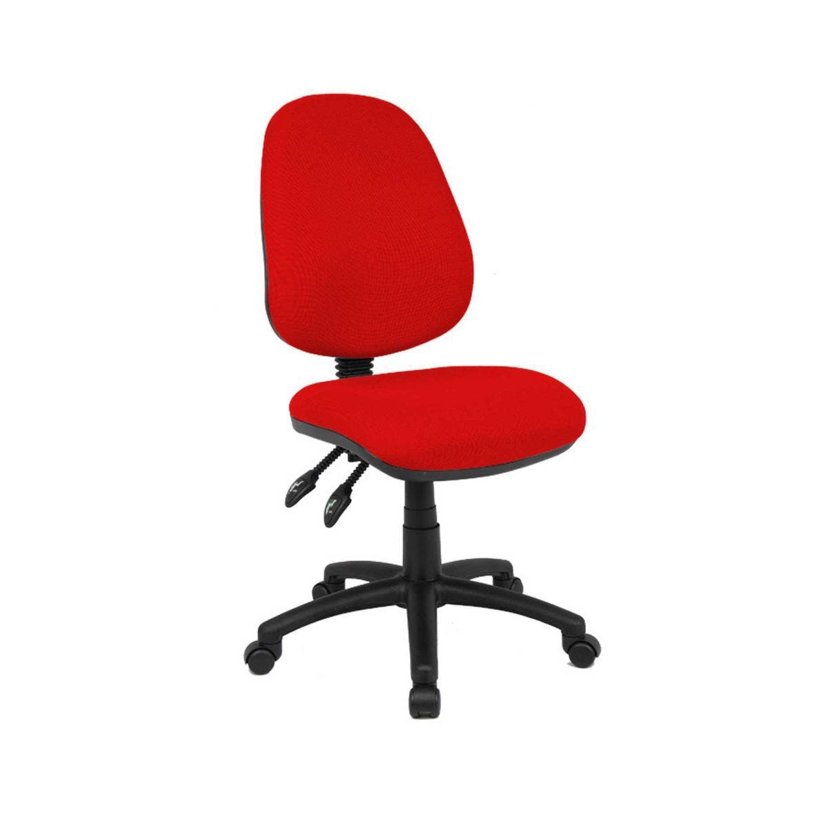 Fabric Operator Chair Twin Lever Mechanism Height 460 or 570mm Red Upholstered