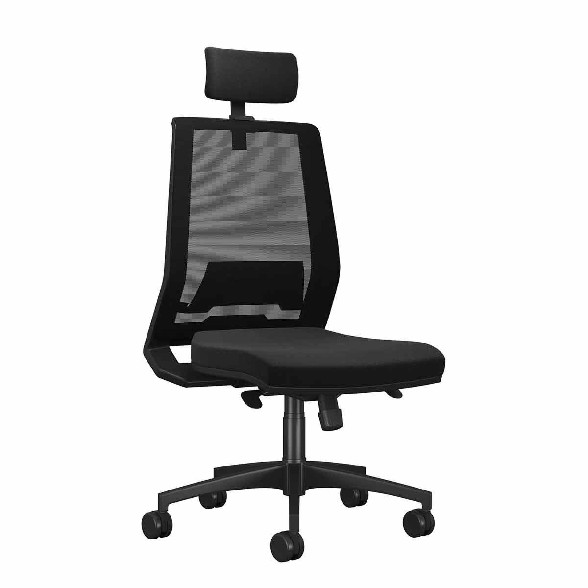 TC Office Rome Mesh High Back Chair with Headrest Black
