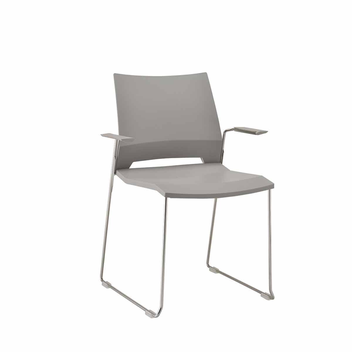 TC Office Rome Skid Armchair Grey