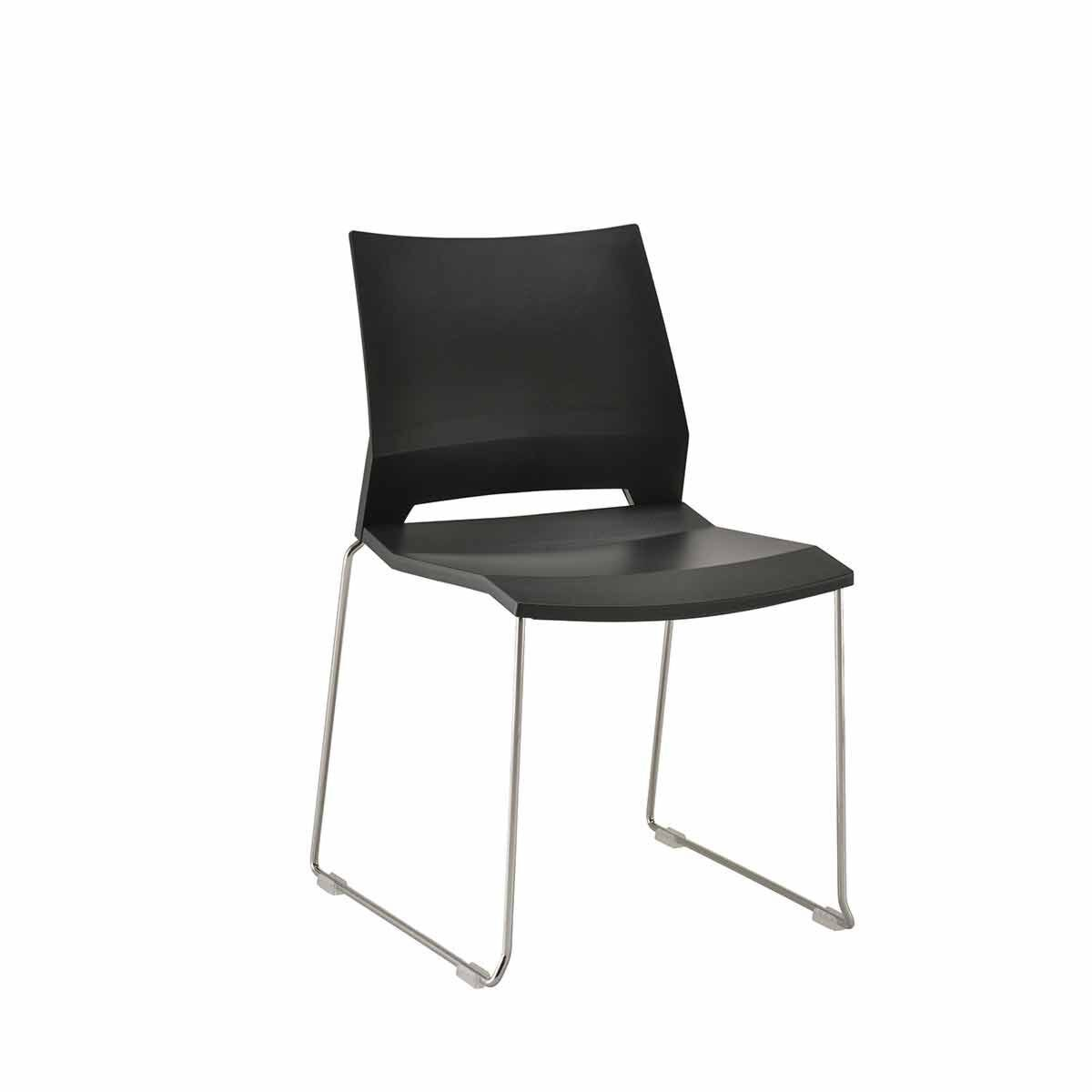 TC Office Rome Skid Side Chair Black