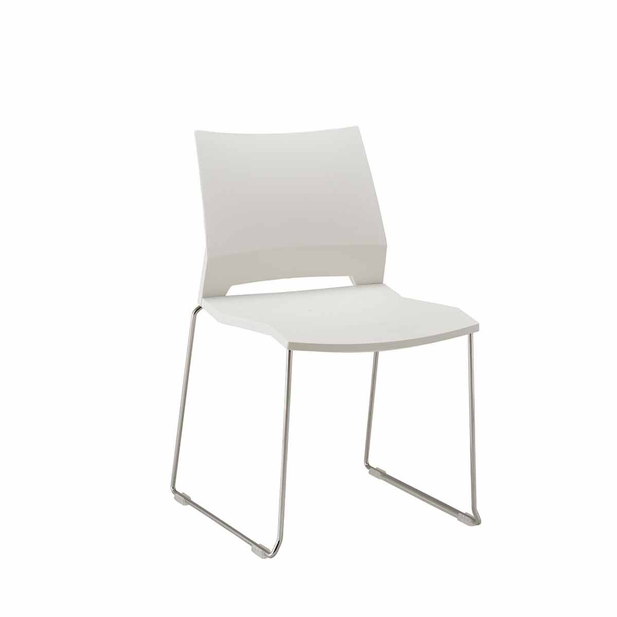 TC Office Rome Skid Side Chair White