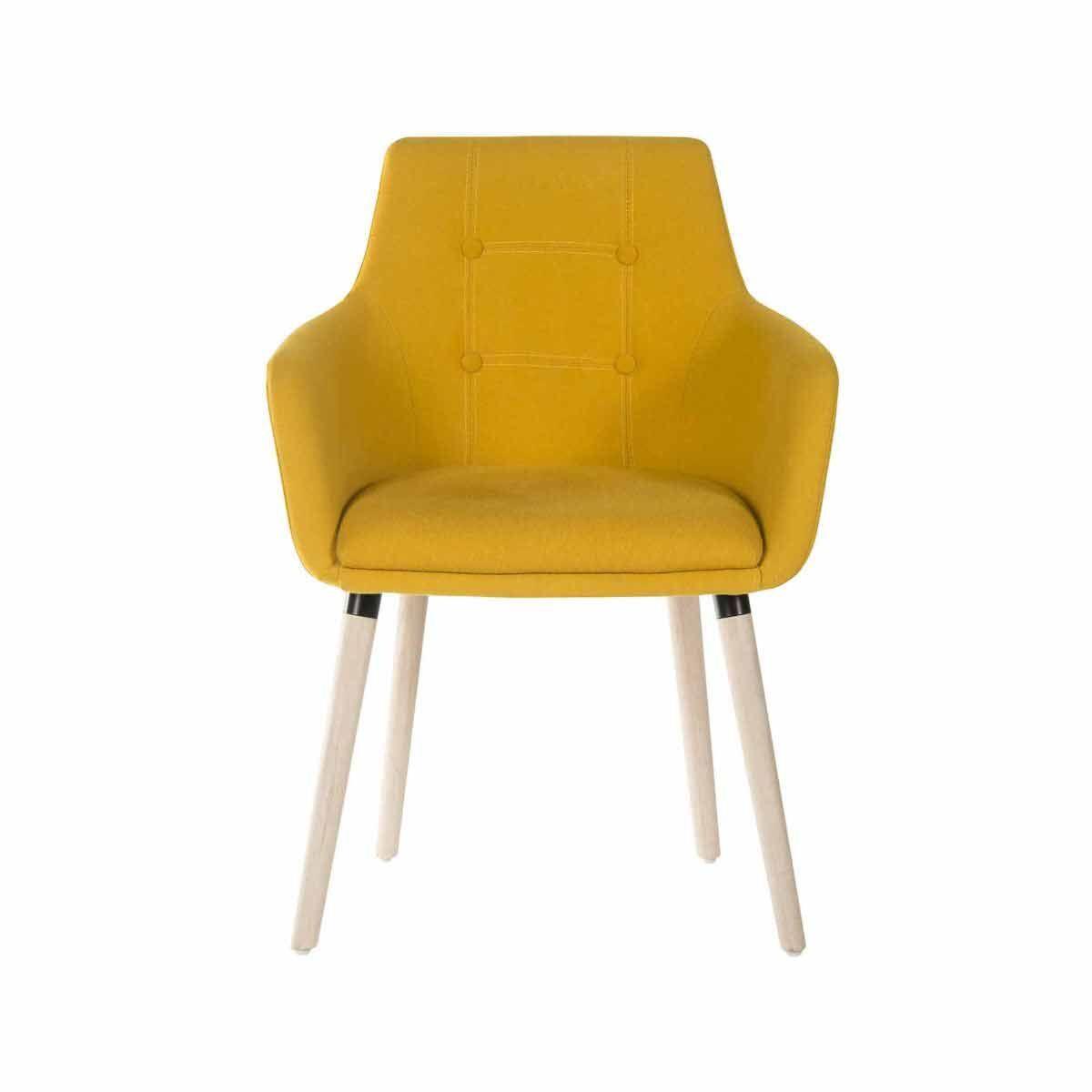 Teknik Office Four Legged Soft Padded Office Chair with Oak Effect Legs Yellow