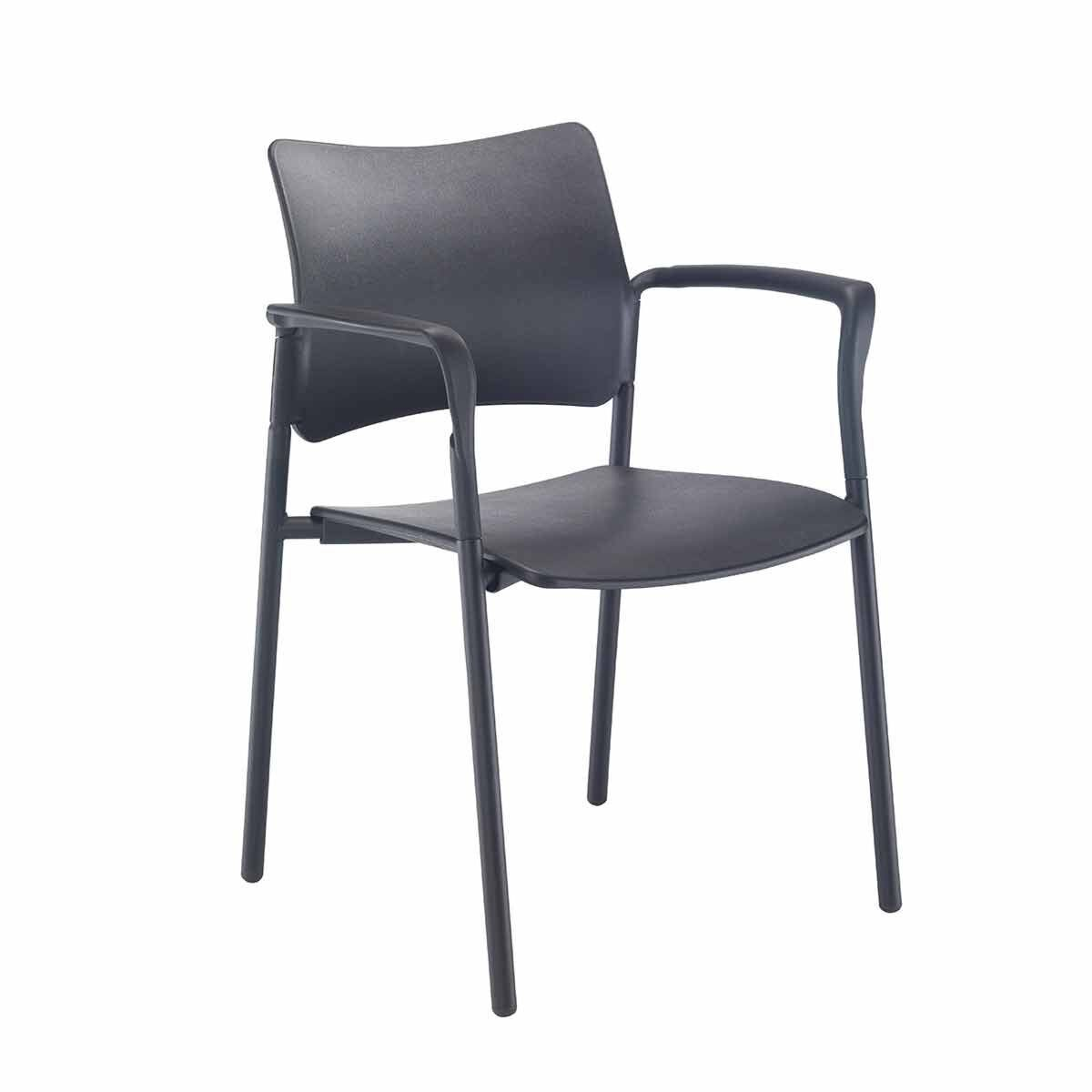 TC Office Florence Plastic Arm Chair with Black Frame
