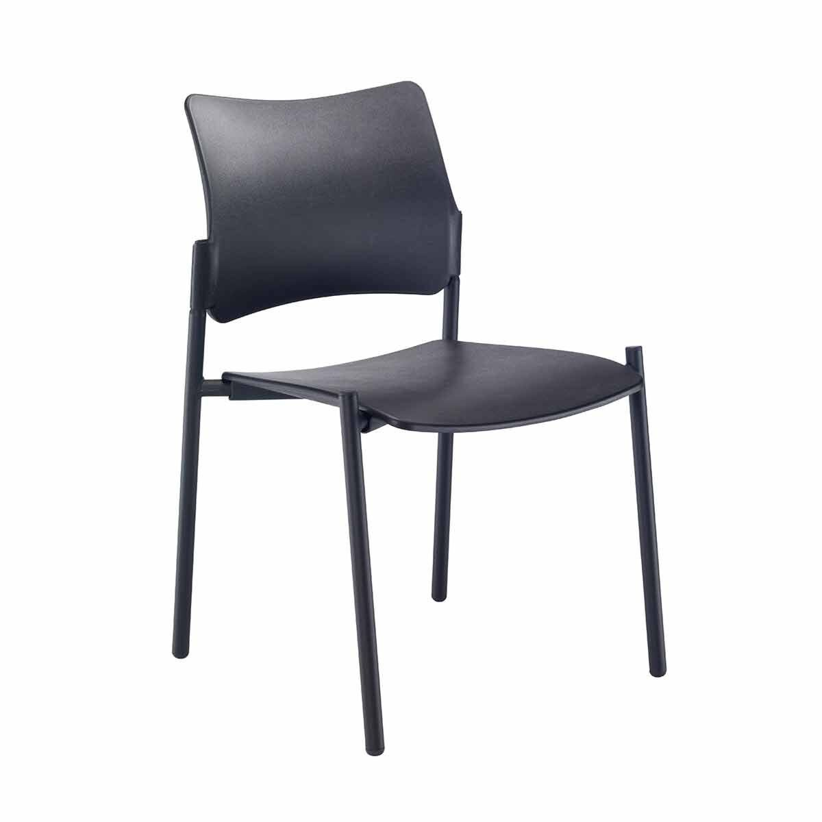 TC Office Florence Plastic Side Chair with Black Frame