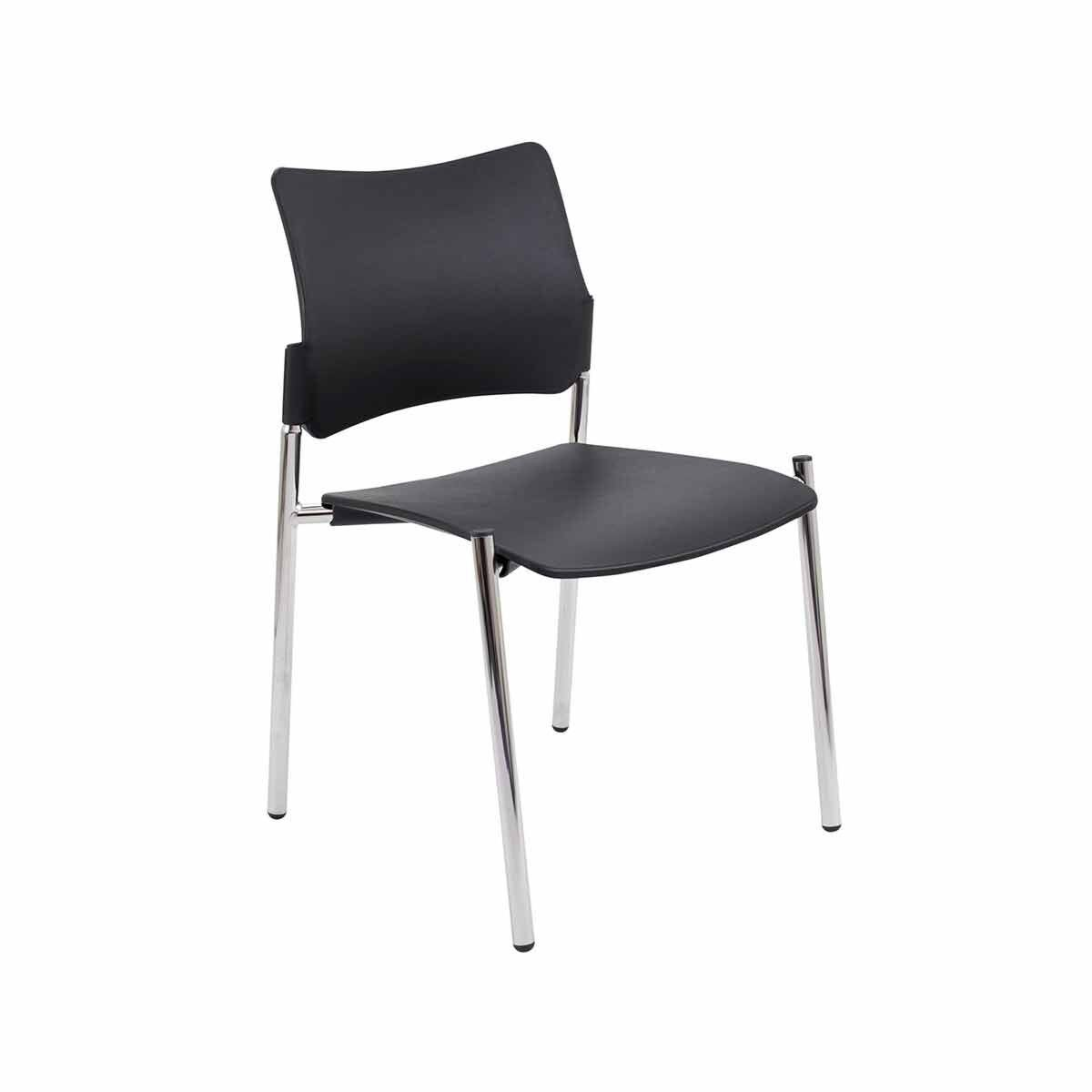 TC Office Florence Plastic Side Chair with Chrome Frame