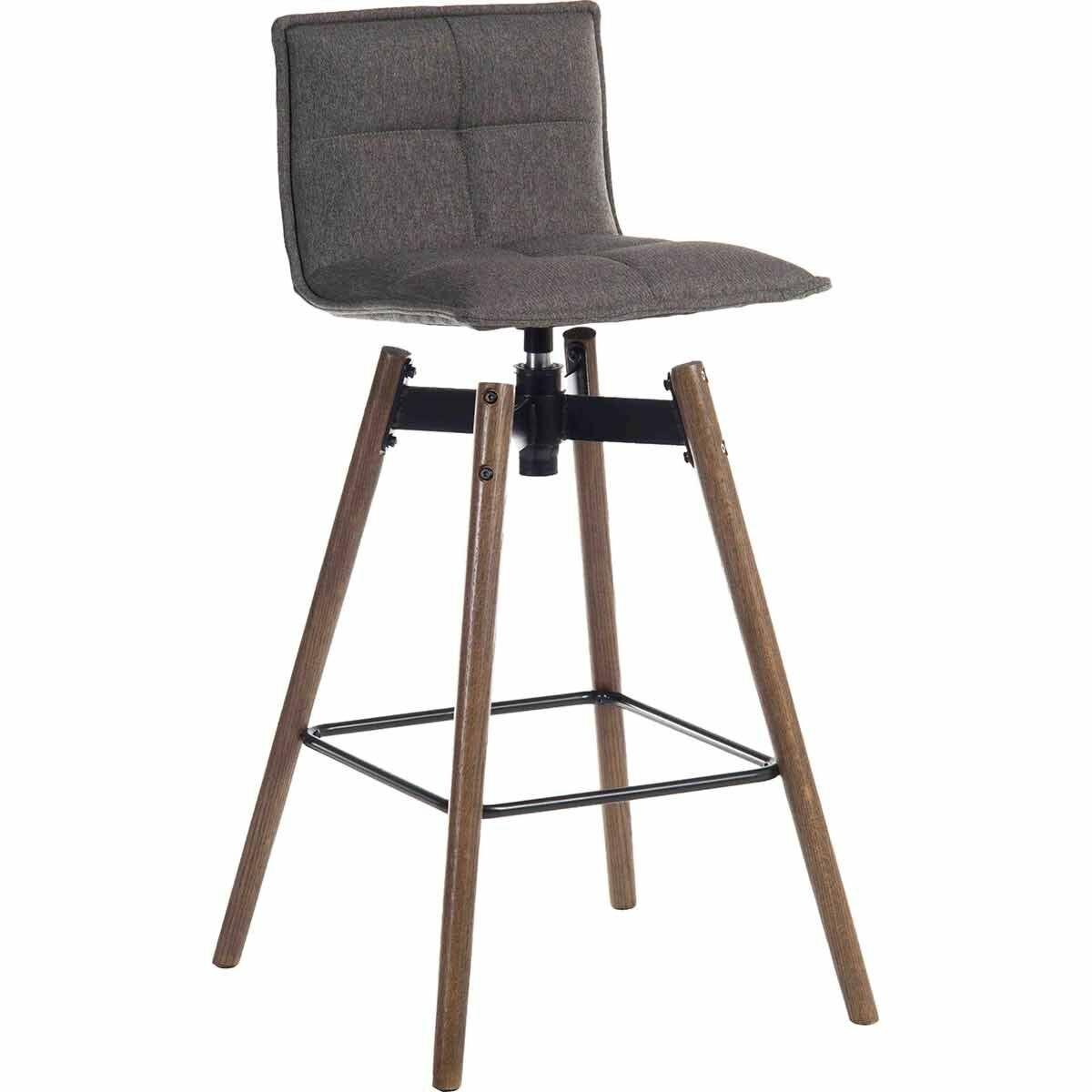 Teknik Office Spin Barstool Grey with Wooden Legs Dark Oak
