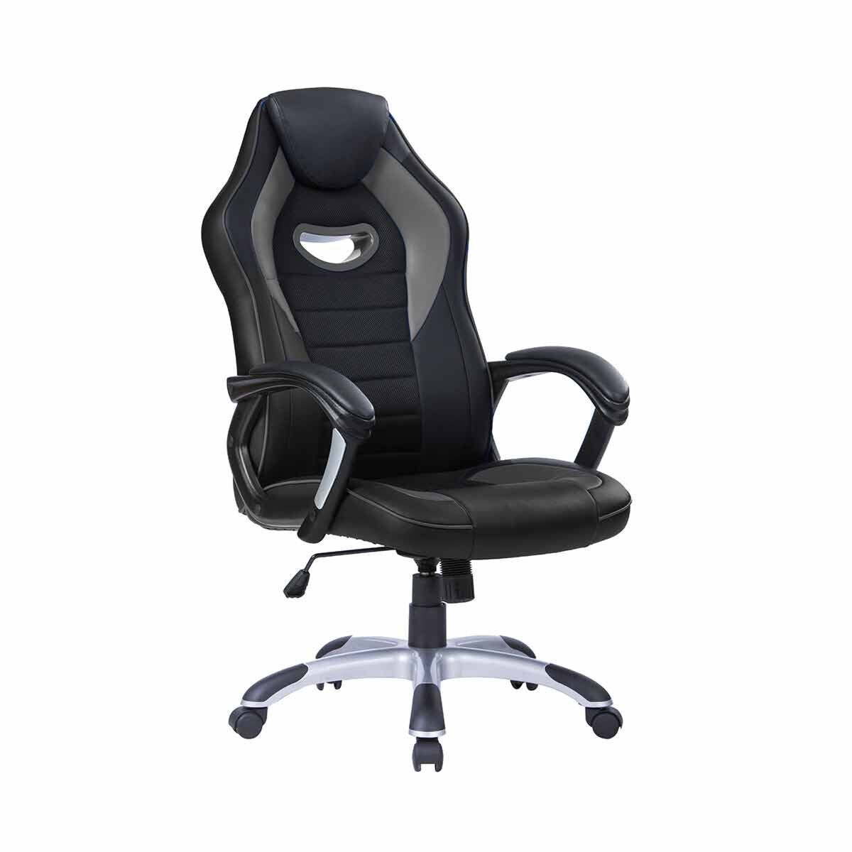 TC Office Racer Chair with Silver Base Grey