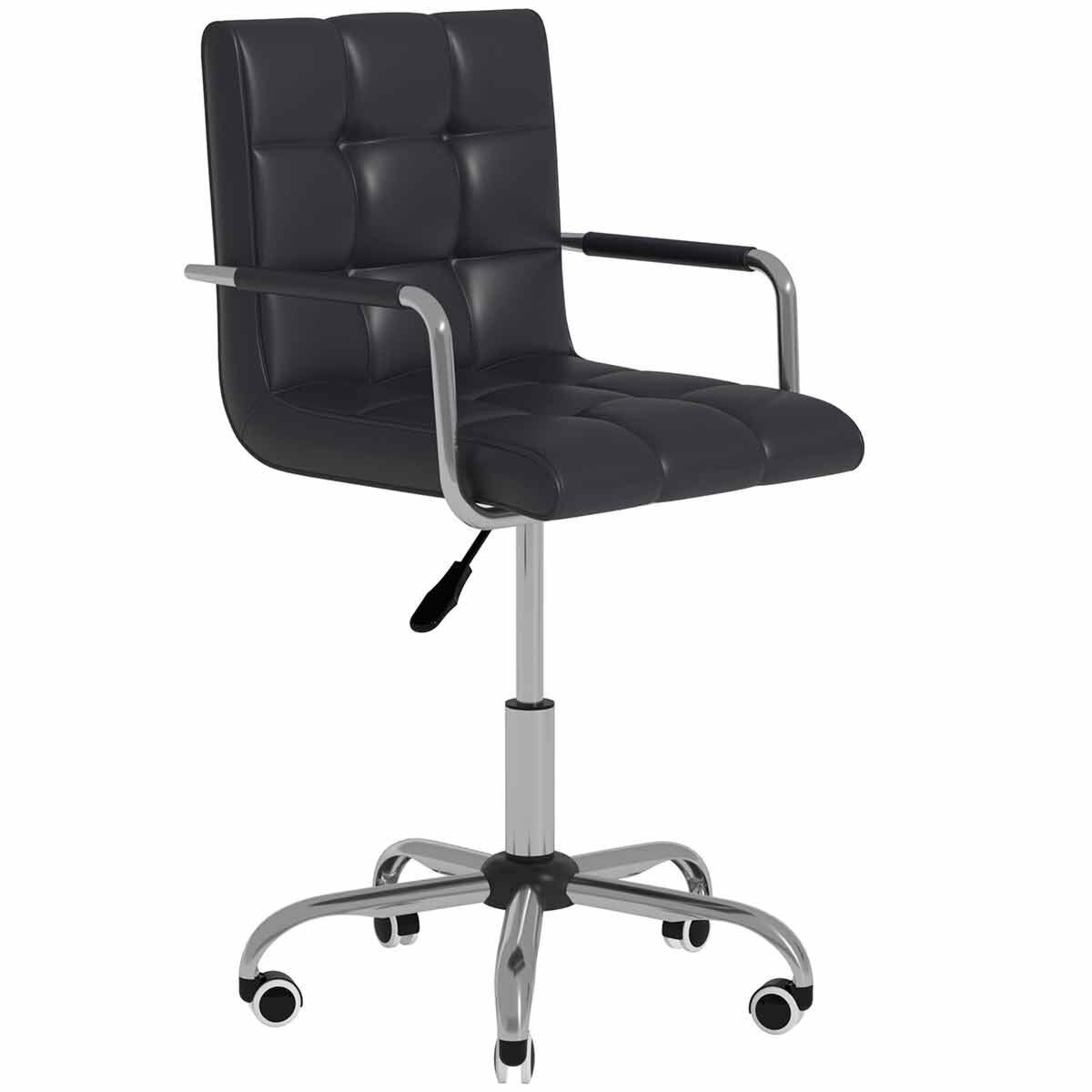 Allegra PU Leather Adjustable Swivel Office Chair Black