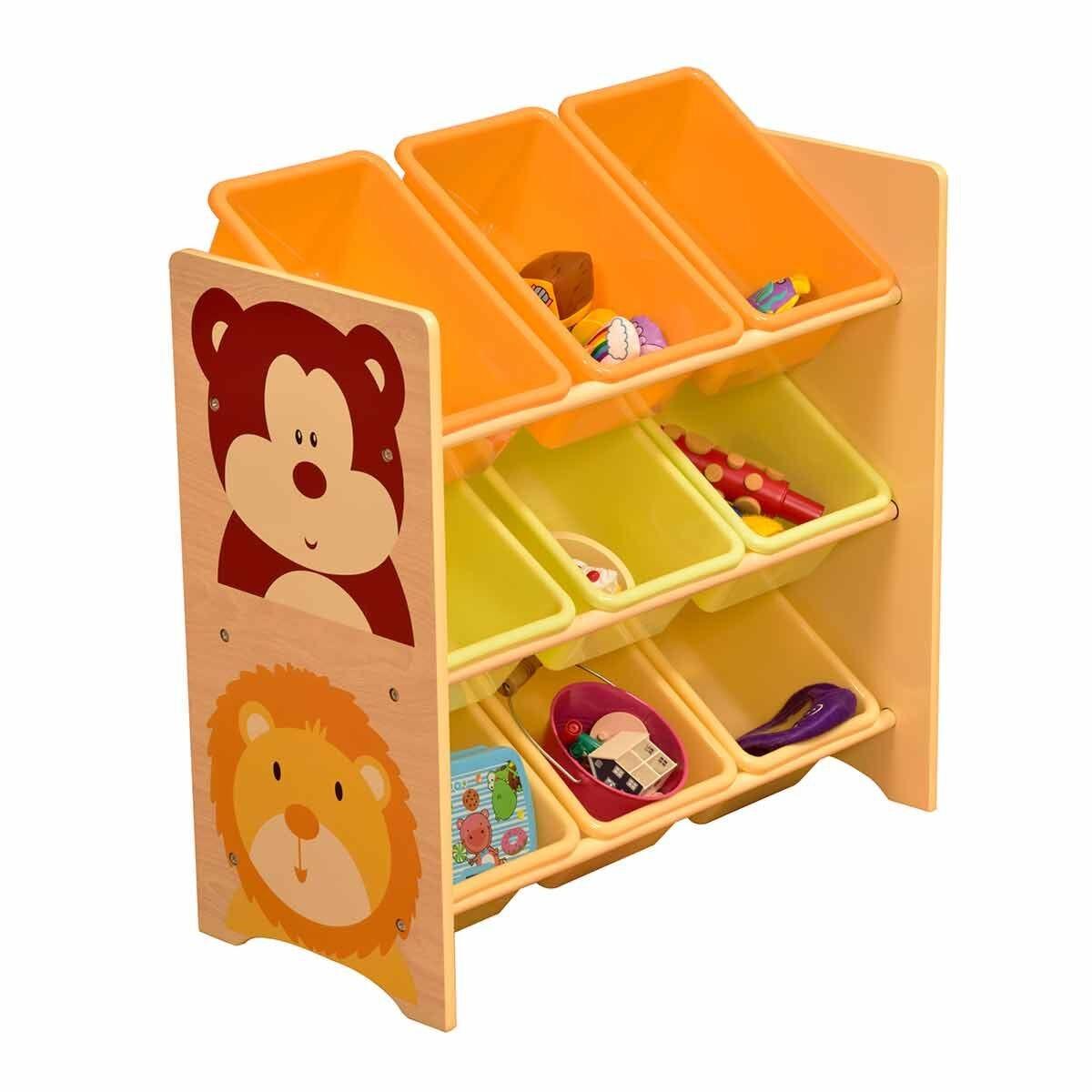 Liberty House Toys Jungle Toy Shelf with 9 Storage Bins
