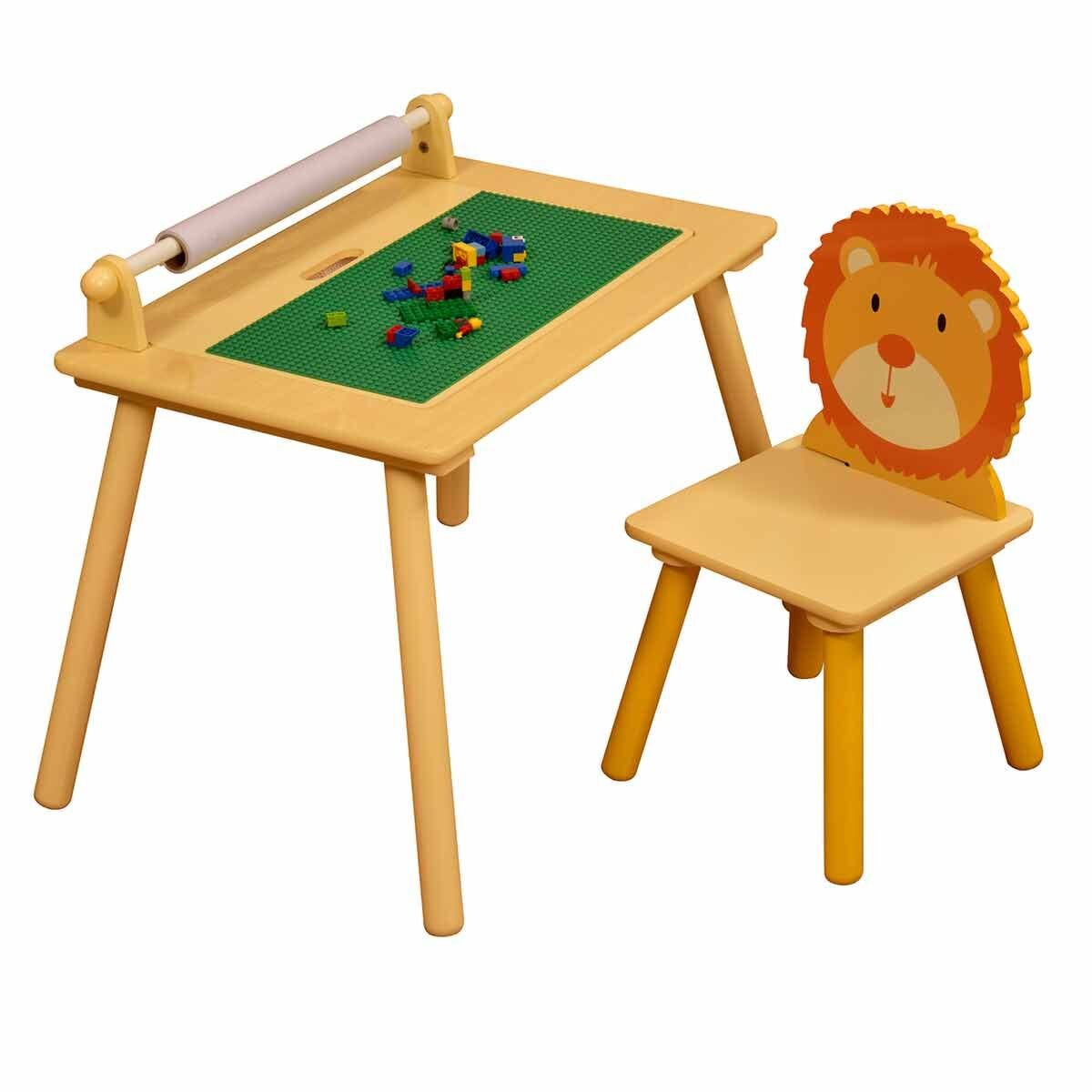 Liberty House Toys Multifunctional Jungle Table Set with Building Block Board
