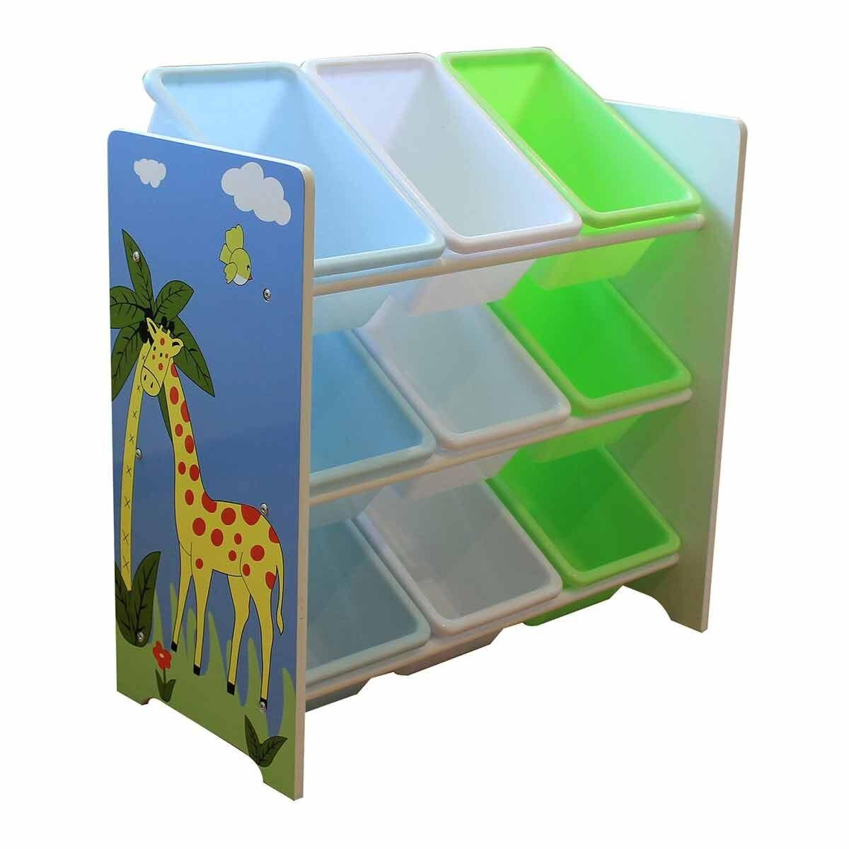 Liberty House Toys Savannah Toy Shelf with 9 Storage Bins