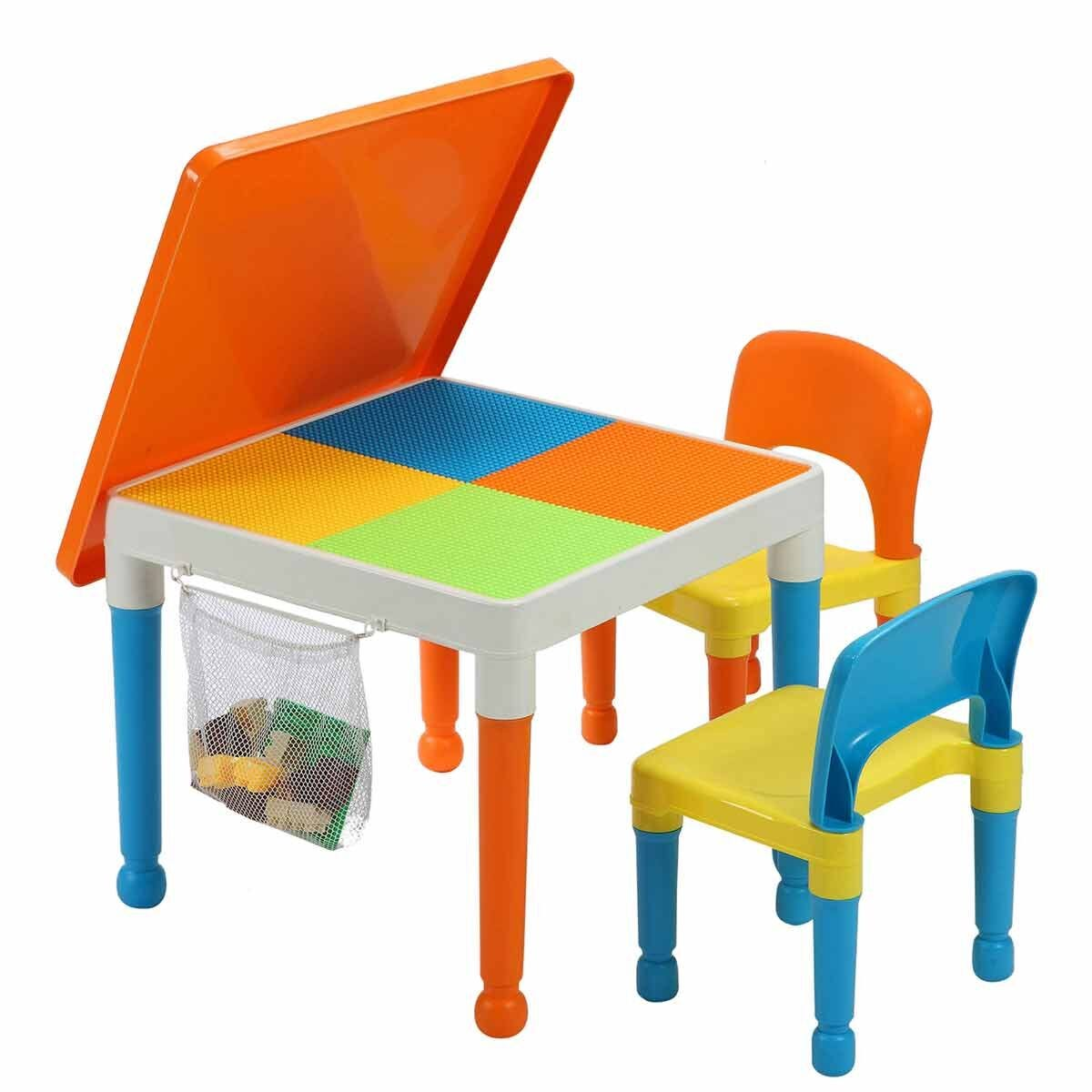 Liberty House Toys Multipurpose Activity Table Set with Storage Bag Orange