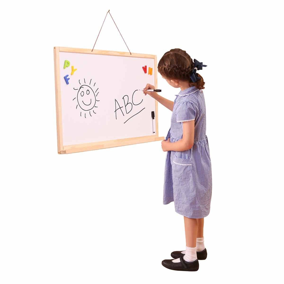 Liberty House Toys Hanging Double Sided Magnetic Whiteboard and Chalkboard