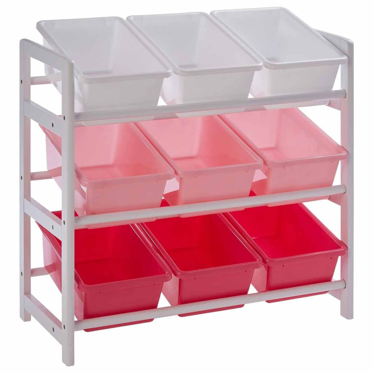 Premier Kids 3 Tier Storage Unit with 9 Plastic Bins Pink