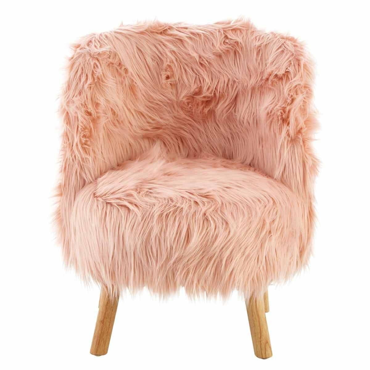 Premier Kids Faux Fur Chair Pink