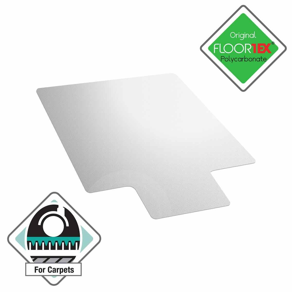 Cleartex Ultimat Chair Mat for Low and Medium Pile Carpets Rectangular with Lip 119 x 89cm