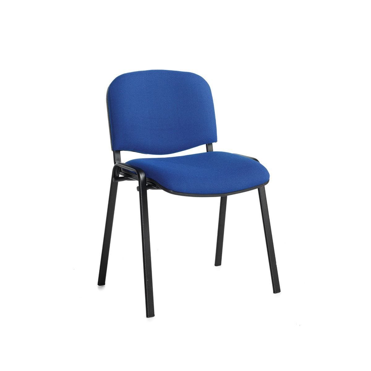 Fabric Stacking Chair Black Frame Blue