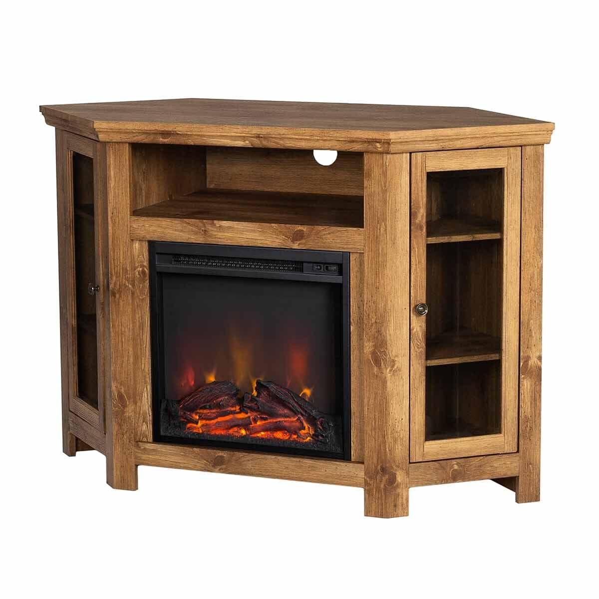Vasto Wooden Corner Fireplace TV Stand