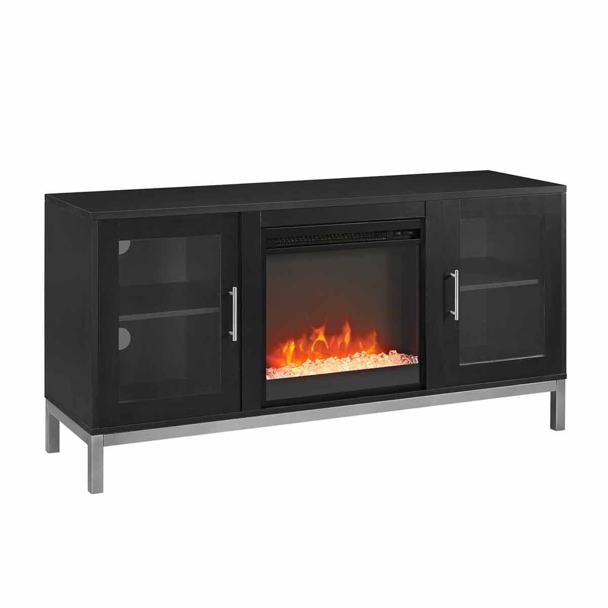 Melfi Modern Fireplace TV Stand Black