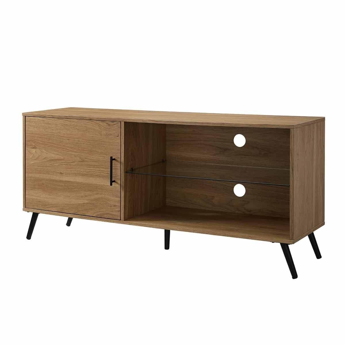 Potenza Mid Century Modern Wood TV Stand Oak