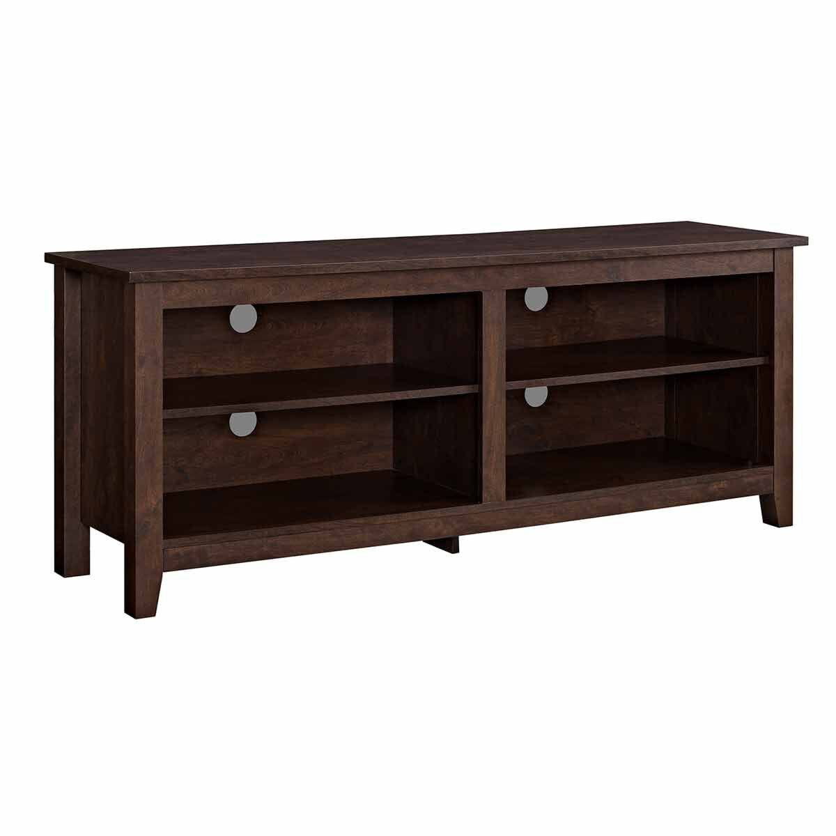 Cosenza Rustic Wood TV Stand Dark Brown